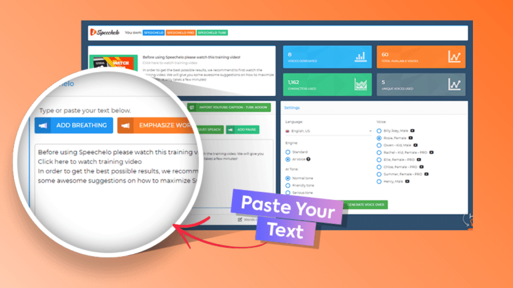 speecheloStep1 1024x576 - Speechelo Review - Real Human Voices From Text in 60 Seconds!